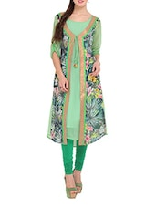 Light Green Floral Print Long Kurti - Lubaba