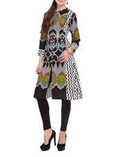 Black Printed Kurti With Front Slit - Lubaba