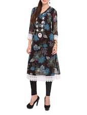 Black Floral Print Kurti With White Cotton Lace - Lubaba