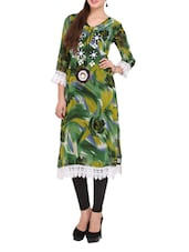 Green Printed Kurti With White Cotton Lace - Lubaba