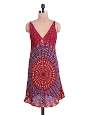 Maroon Printed V-neck Rayon Dress - By