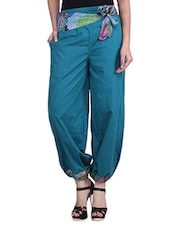 Green Cotton Pants With Front Tie-up - By