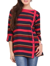 Navy Blue Striped Tunic - Lubaba