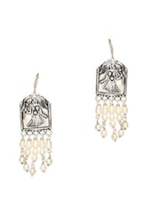 Antique Silver Earrings With Beaded Tassels - By