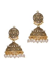 Gold Pearl Drop Jhumki Earrings - By