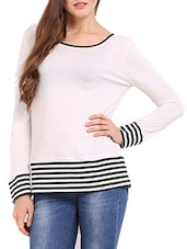 Solid White Casual Top With Black Stripes - Femenino