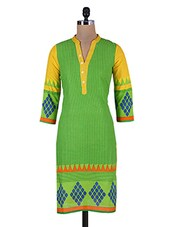 Yellow And Green Printed Cotton Kurta - By - 9687354