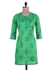 Parrot Green And Blue A-line Printed Cotton Kurti - By