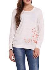 Solid White Embroidered Sweat-shirt - Femenino