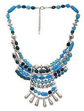 Blue And Silver Beaded Tribal Necklace - By