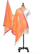 Orange Stiped Banarasi Dupatta - PLUME