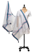 White With Green Border Banarasi Dupatta - PLUME