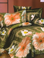 Gerbera Print Green Bed Linen With Pillow Covers - Skap