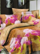 Amazing Floral Printed Brown And Pink Bed Linen With Pillow Covers - Skap