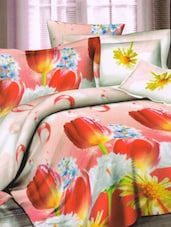 Magical Red Floral Printed Bed Linen With Pillow Covers - Skap