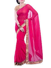 Pink Embellished Chiffon Saree With Gold Border - By