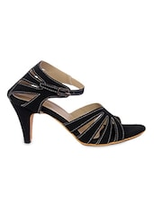 Black Cross-Strap Heels Sandals - By
