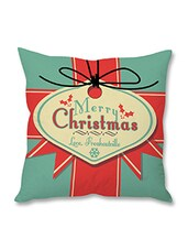 Turquoise Merry Christmas Printed Cushion Cover - By