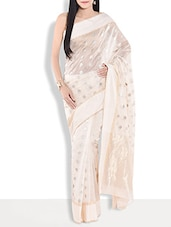 Off White Floral Brocade Chanderi Silk  Saree - By