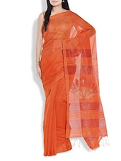 Orange Cotton Silk Jamdani Saree - By