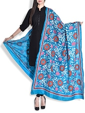 Blue Silk Dupatta With Kantha Work - By