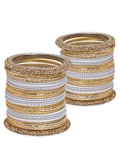 White And Gold Embellished Bangles Set - By