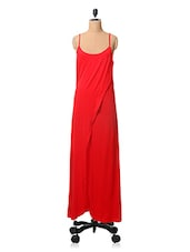 Solid Red Slip Maxi Dress - By