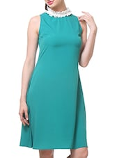 Teal Sleeveless Dress With Frilled Neckline - By