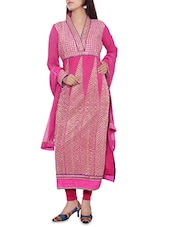 Pink Semi Stitched Embroidered Georgette Suit Set - By