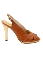 Brown Faux Leather High Heel Sandals - Charu Diva