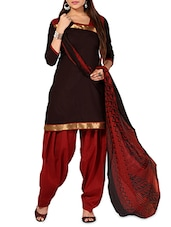 Brown And Red Printed Unstitched Suit Set - By