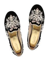 Black Embellished Velvet Moccasins - Charu Diva