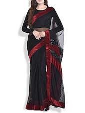 Black Soft Net Saree With Velvet And Sequined Border - By