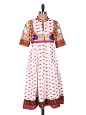 Printed White Kurta With Hint Of Jacket - Prakhya