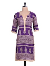 Purple  Cotton Printed Kurta - By