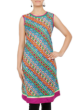 Multicolored Printed Quarter Sleeved Cotton Kurti - By