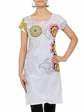 Grey Printed Short Sleeved Cotton Kurti - By