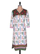Printed Kurta With Embroidered Front Yoke - Prakhya