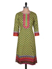 Yellow Quarter Sleeve Round Neck Printed Kurta - Prakhya