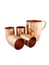 Copper Hammered Jug And Set Of 4 Glasses - By