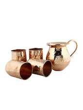 Plain Copper Jug And Set Of 4 Glasses - By