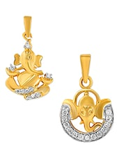24K Gold Plated Ganesha Pendant (set Of 2) - By
