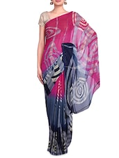 Pink And Grey Printed Georgette Saree - By