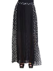 Black Star Printed Long Pleated Skirt - By