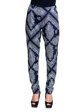 Blue Paisley Printed Pants - Oxolloxo