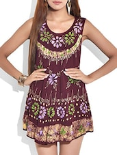 Dark Brown Floral Rayon Short Dress - By