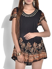 Black Floral Short Rayon Dress - By