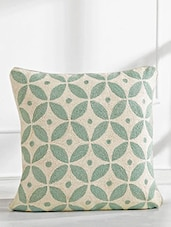 Beige And Green Printed Cotton Cushion Cover - By