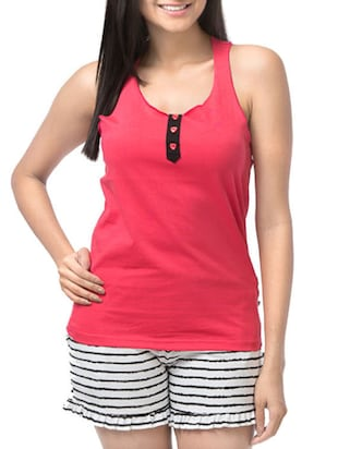 Coral Pink and White Stripped Racerback Top with Shorts Set -  online shopping for nightwear sets