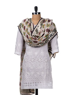 White Hand Embroidered Dupatta - Vayana
